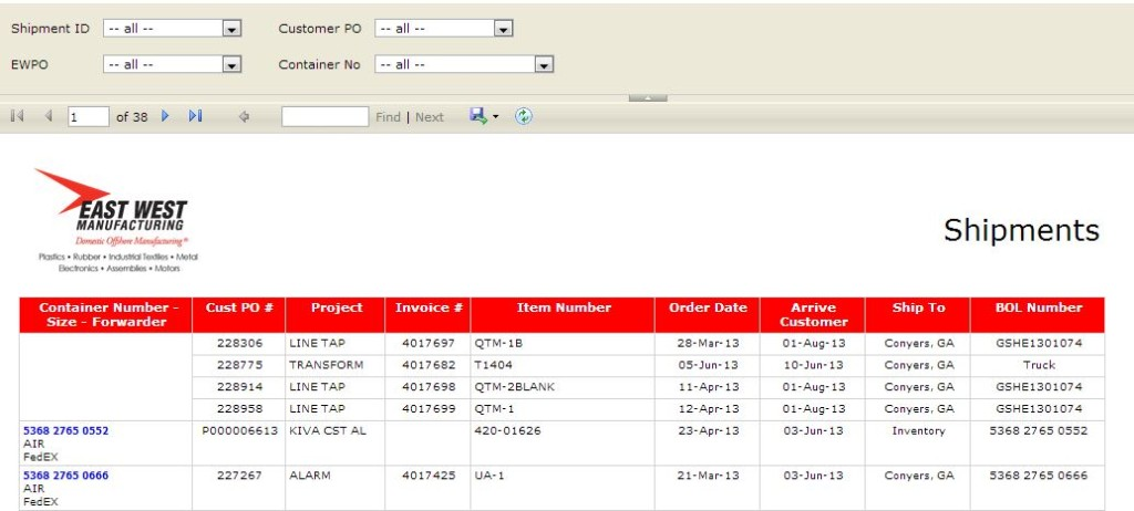 East West Customer Portal Shipments