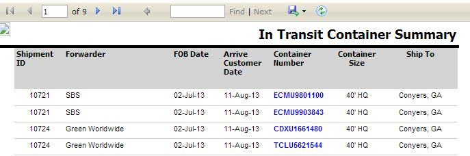 East West Customer Portal In Transit Summary