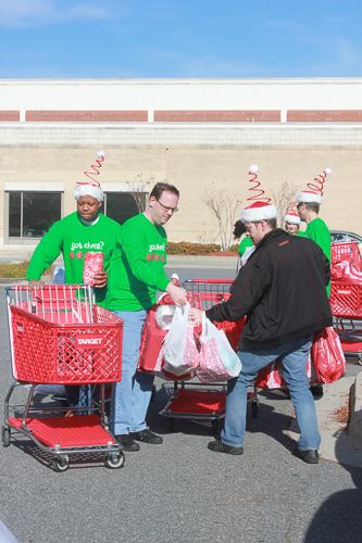 East West Manufacturing Elves loading Target Goodies for Charity