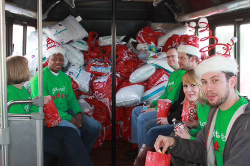 East West Manufacturing Bus Full of Goods for Charity