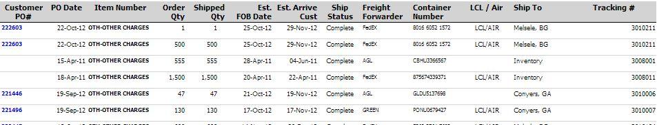 East West Customer Portal Order History